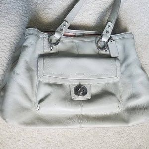 COACH - Grey Leather Tote Bag with Zip Divider